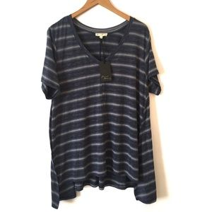 NWT Jane & Delancey Blue Striped Top Size 2X